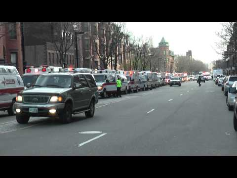 Boston Marathon, standby ambulance. Copley Square/Back Bay