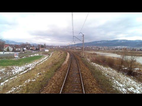 Widok z końca składu: Bielsko-Biała Gł. - Zwardoń