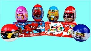 Surprise Eggs Spiderman Kinder Surprise SpongeBob Christmas One Direction Sonic Pokemon Princess Thumbnail
