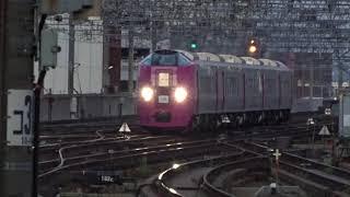 警笛あり JR北海道 キハ261系気動車5000番台 はまなす編成 団体臨時列車 北海道鉄道140年記念号 札幌駅到着 2020年10月17日
