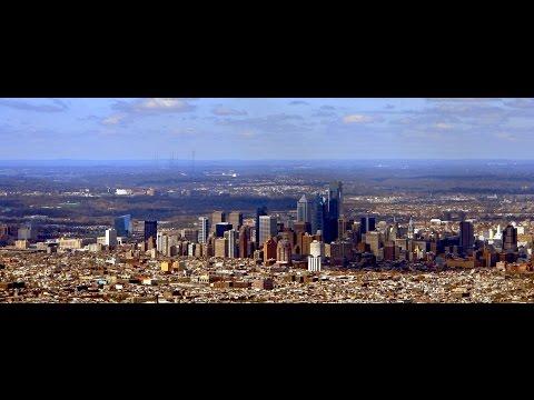 Amazing Drone Footage! View of Philadelphia Skyline from 22 Miles Away!