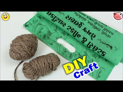 Wall Hanging Making at Home || Jute Craft Idea | Waste Shopping Bag Craft Idea | DIY Room Decor 2018