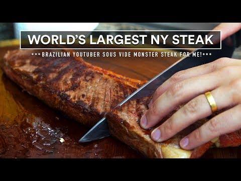 """24"""" MONSTER New York STRIP Steak Sous Vide in BRAZIL!"""