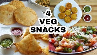 4 Easy Veg Snacks / Tea Time Snacks Recipes by (YES I CAN COOK) #Snacks #Veg