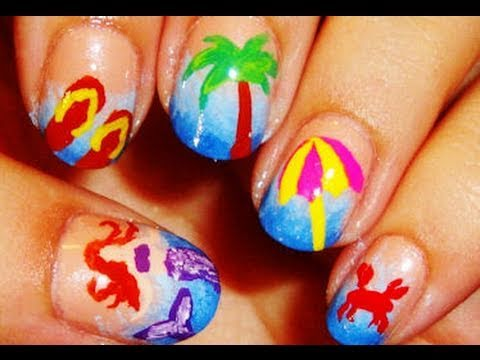 Summer Time Beach Nails - YouTube