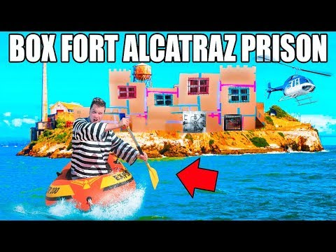 24 HOUR FLOATING BOX FORT PRISON ESCAPE!!  Escaping Alcatraz