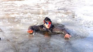 Breaking Through Ice WITHOUT Safety Equipment