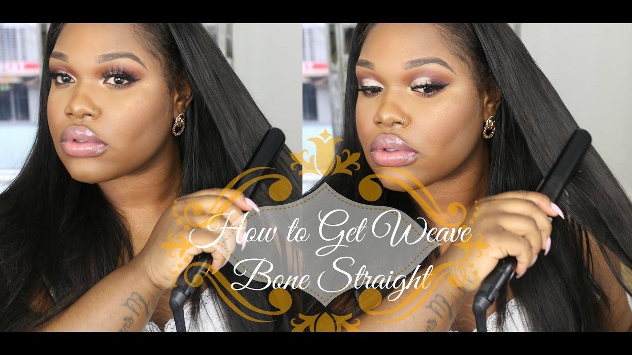 How To Straighten Your Weave Bone Straight Sleek Look Youtube