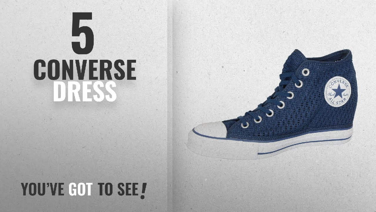 157a5b401fd461 Top 5 Converse Dress  2018   Converse Womens Chuck Taylor Lux Wedge Shoe  Dress Blue Knit (10 B(M)