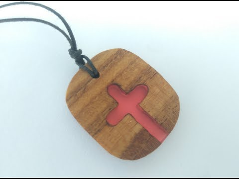 Wood and resin cross necklace | Religion jewelry | resin pendant