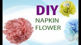 Как сделать ЦВЕТЫ ИЗ САЛФЕТОК    DIY: Paper Napkin Flowers