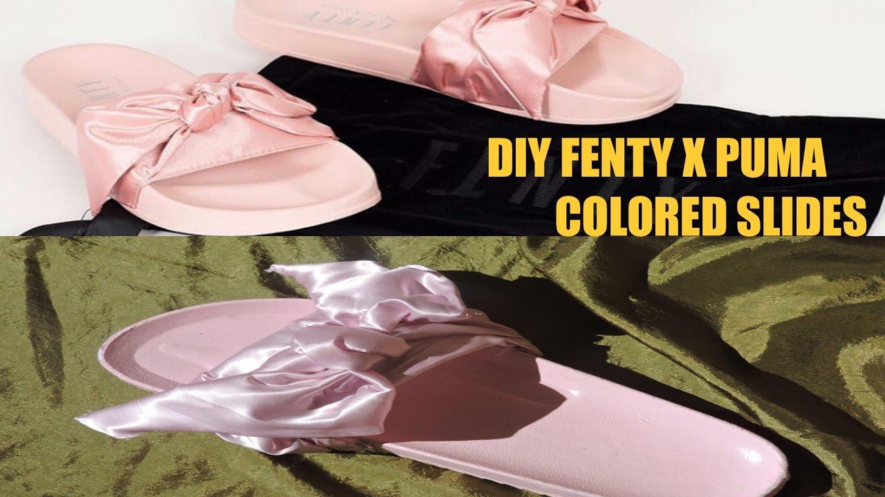 0ca9ec113ba2d5 DIY Fenty X Puma Bow Slides (Pink or Olive) - YouTube