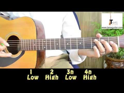 Country style chords and strumming pattern with walking bass guitar lesson 2