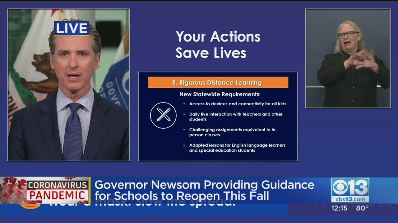 Gov. Newsom mandates online learning for California schools on ...
