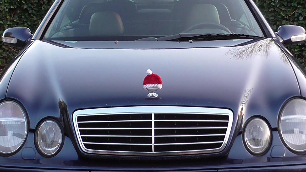 Mercedes knit Christmas hat cap for hood ornament emblem - YouTube e4ab79996327