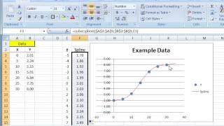 Using the Flexible Spline function (FlexSpline) in Excel