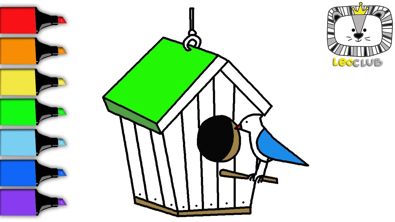 How to Draw Birdhouse. Learning Coloring Pages for Kids. LEOCLUB ...