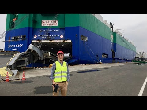 Экспорт японских автомобилей и посещение грузового  судна Jasper Arrow (Ro-Ro)