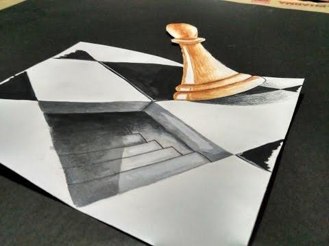 3D paper illusion 2017 - chess board illusion