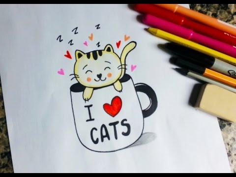 Como Desenhar Um Gatinho Kawaii Na Xicara Youtube