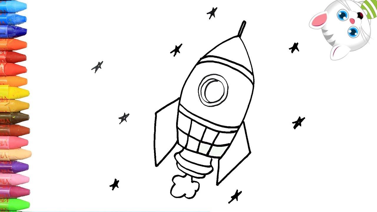 Cómo Dibujar Y Colorear Cohete Espacial Dibujos Para Niños Con Mimi Aprender Colores
