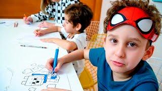 Colorindo com 3 Cores com a Mamãe os Desenhos do Minecraft e Unicórnio - Paulinho e Toquinho