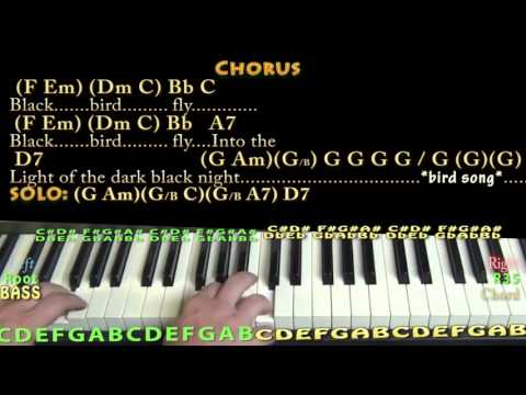 Blackbird (The Beatles) Piano Cover Lesson with Chords/Lyrics