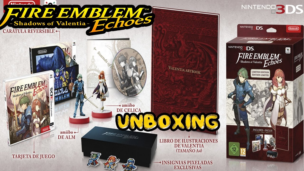 Unboxing Fire Emblem Echoes Shadows Of Valentia Limited Edition 3dsfire Shadow Amiibos Alm Celica