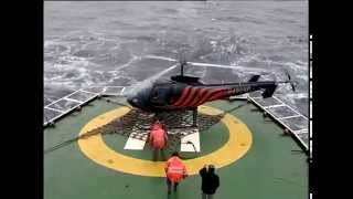 Helicopter almost crashes at takeoff