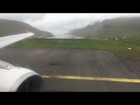 Takeoff Vagar, Faroe Islands for Copenhagen (4K) Atlantic Airways A319