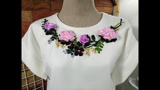 How To: Satin Ribbon Embroidery On A Neck Line!!