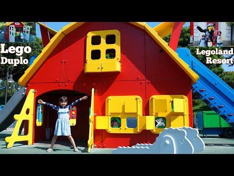 Children's Lego Duplo Train Ride! Lego Duplo Playground. Kids' Outdoor Playground at Legoland Resort