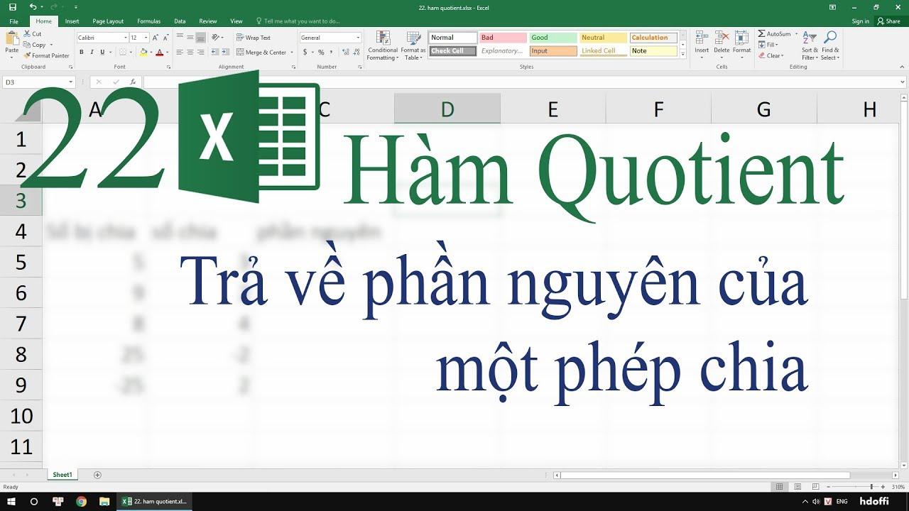 22. Hàm Quotient trong Excel – Trả về phần nguyên của một phép chia
