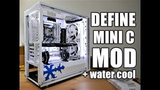 PC case modding and water cooling parts on the Fractal Design Define Mini C White (Part 1 of 2)