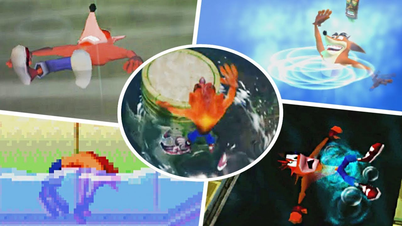 Evolution of Crash Bandicoot Drowning Animation - Crash Bandicoot Games
