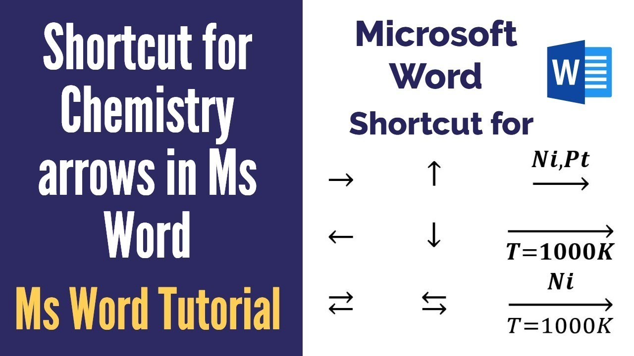 Shortcut for typing chemical reaction arrows and text above and below  arrows in word