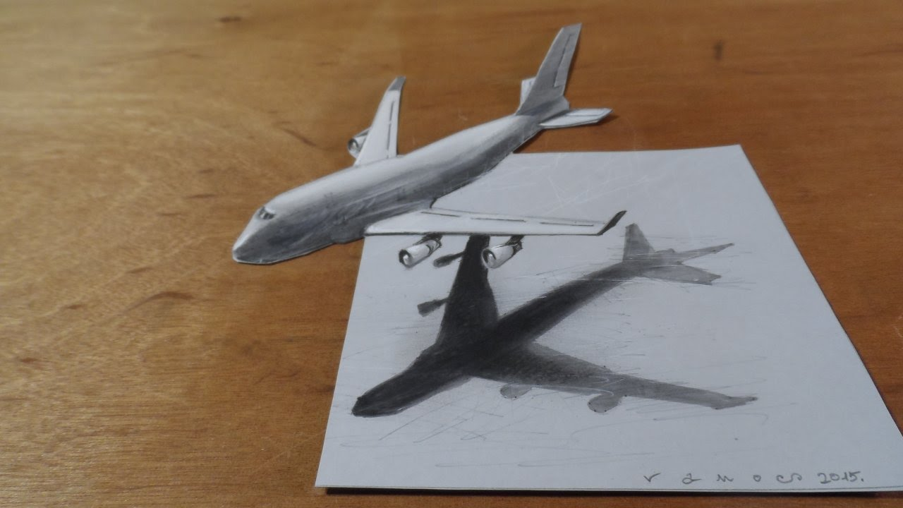Drawing airplane how to draw 3d airplane boeing 747 3d flight illusion youtube