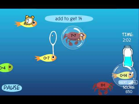 Bubble Fun Math - Basic Operations Gameplay.  Addition (10-19)