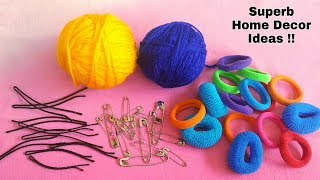 3 Best Home Decor Ideas by reusing Hair bands, Hair clips and Safety pins