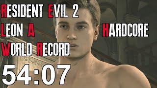 Resident Evil 2 Remake - Leon A Hardcore Speedrun World Record - 54:07