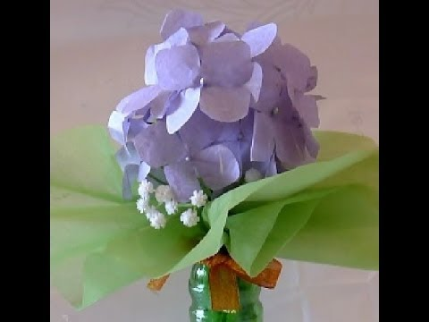 Paper flower 5 paper hydrangea paper flower tutorial paper hydrangea paper flower tutorial youtube mightylinksfo