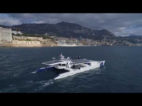 EXCLUSIVE AERIAL IMAGES FROM THE ENERGY OBSERVER IN MONACO WITH PRINCE ALBERT ON TOP ON TOP