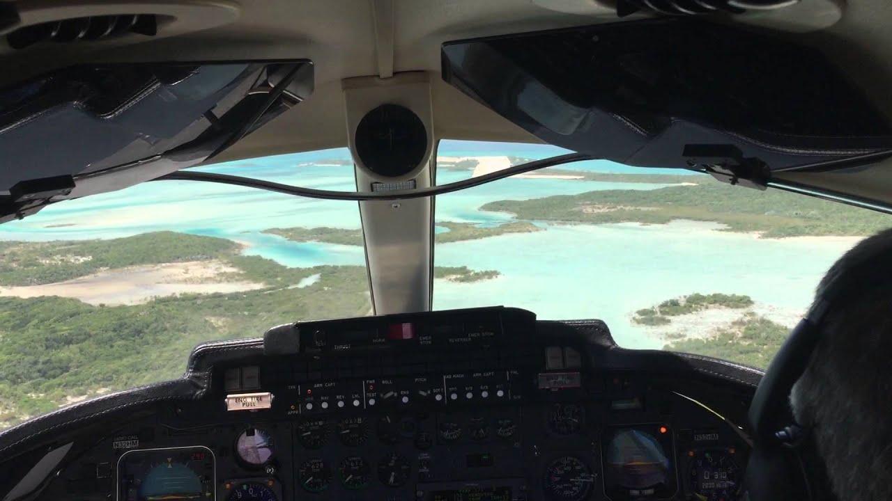 Lear 35a Landing in Normans Cay Exumas Beautiful Runway