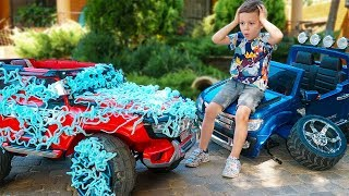 Kid ride on cars and Playing with toys and Washing cars