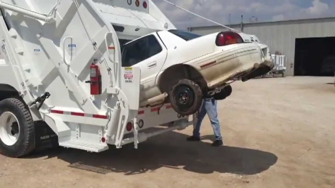 Press Car ! Garbage Truck Is Grinding Car - YouTube