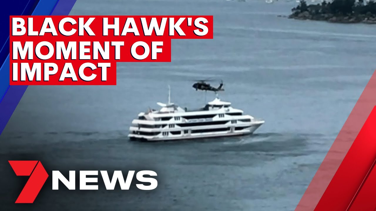 Defence Force chopper makes emergency landing after clipping cruise ship in Sydney Harbour   7NEWS