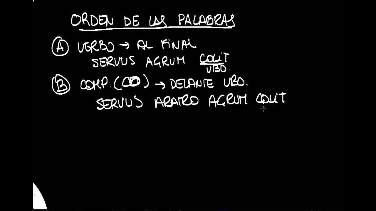 Orden De Las Palabras En Una Oración En Latín