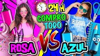 🛍 24 HORAS comprando ROSA VS AZUL 🌈 COMPRO TODO POR COLORES challenge 🛍 Reto KARINA Y MARINA