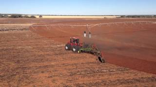 Case Steiger 600, Working underneath irrigator, Delpa Farming, Helicopter View