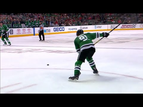 Seguin snipes fluttering puck just under crossbar